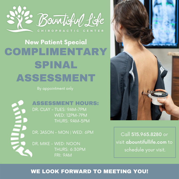 Chiropractic Ankeny IA New Patient Special at Bountiful Life Chiropractic Center